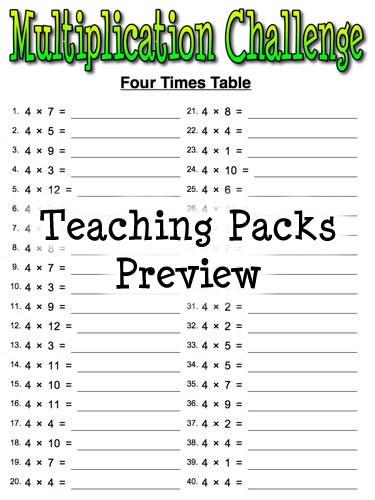 Times Tables Print Sheets - times table challenge sheets ks2 ...