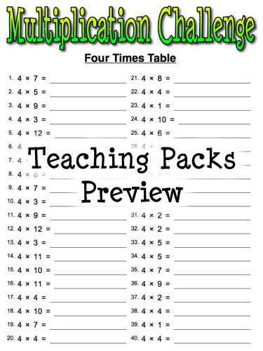math worksheet : the times tables pack  : Multiplication Challenge Worksheets
