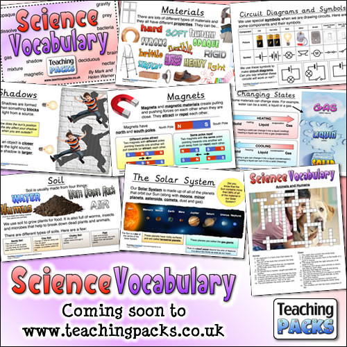 The Science Vocabulary Pack - Coming soon to www.teachingpacks.co.uk